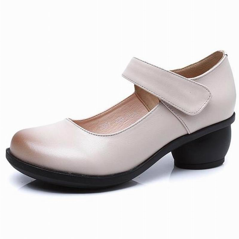 2019 Spring Autumn Shoes Woman 100% Genuine Leather Women Pumps Lady Leather Round Toe Platform Shallow Mouth Shoes #2051-in Women's Pumps from Shoes    3