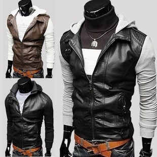 Free the freight men's sleeves stitching design leather jacket leisure jacket leather high quality M-L-XL-XXL