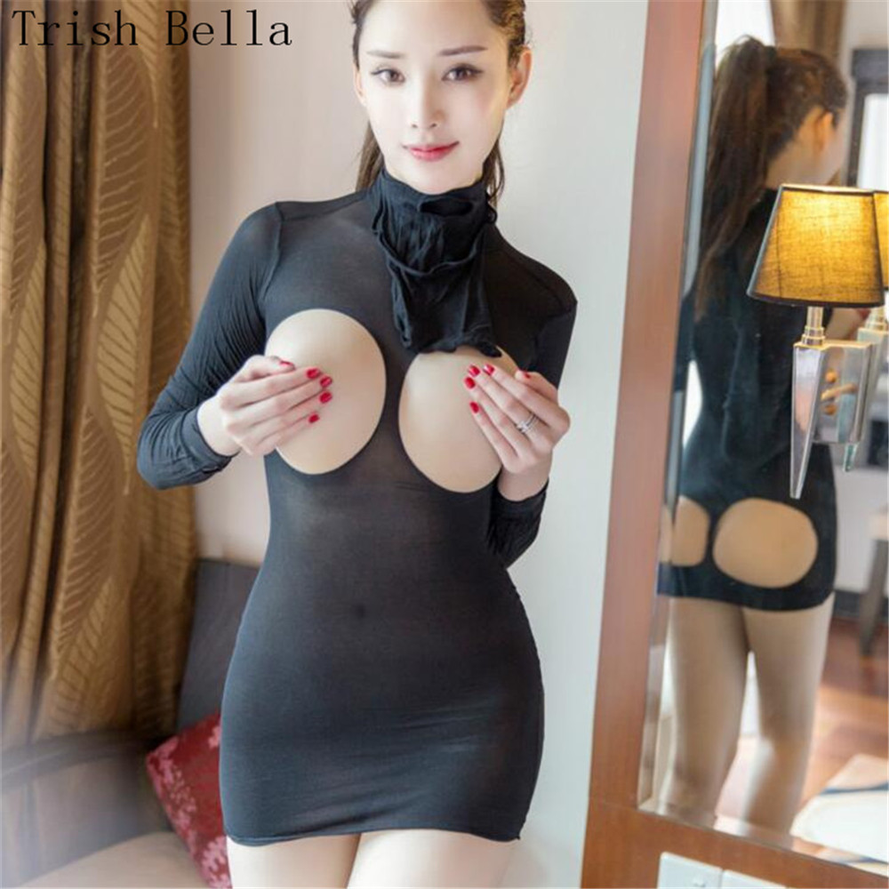 Trish Bella 2018 Transparent Silk Stockings Masked Hollow Out Dew Buttocks Body Sexy Costumes Bodystocking Catsuit Open Crotch