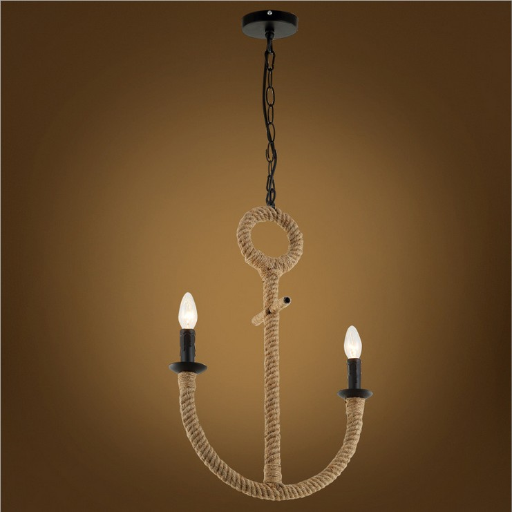 NEW Creative personality hemp rope chandelier,Cafe Bar decor decorations aisle American country retro water anchor lamp lights