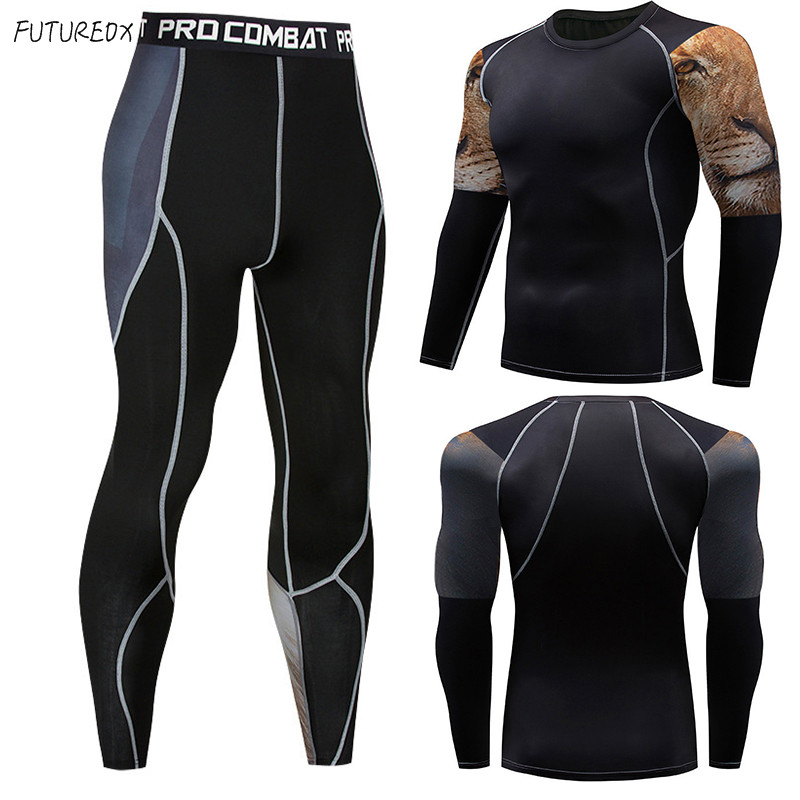 High Quality Lion Head Men MMA Clothing Crossfit Thermal Underwear Fitness Clothes Men's Compression Clothing Sportswear Suit