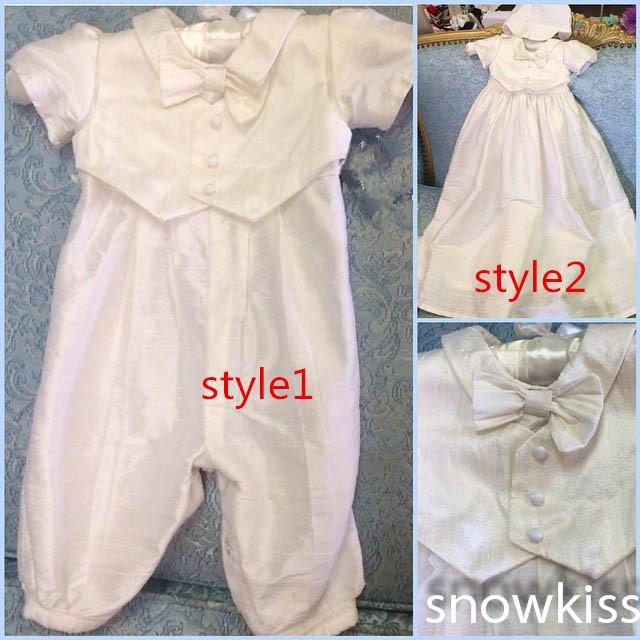 2016 Christening Gown with Bonnet Infant Boy Baby Pant Suit Baptism Dress
