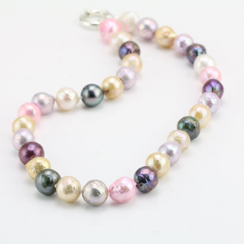 Unique Pearls jewellery Store,18inch Real Pearl Necklace,11-12mm Nugget Rainbow Freshwater Pearl Necklace,Bridesmaids GiftUnique Pearls jewellery Store,18inch Real Pearl Necklace,11-12mm Nugget Rainbow Freshwater Pearl Necklace,Bridesmaids Gift