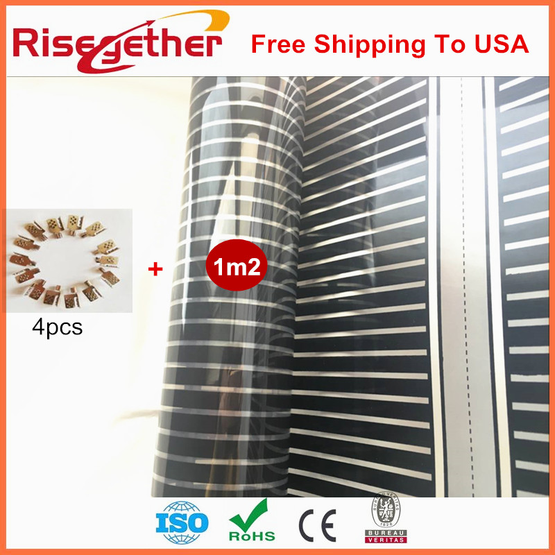 Free Shipping To USA Warm Floor Kits/Film 1Square meter With Connectors In Sale AC220V Carbon Fiber Infrared Heating Film Supply  tf01 10 free shipping carbon crystal to warm foot feet warmer office warm floor winter foot warmers carbon crystal to warm feet