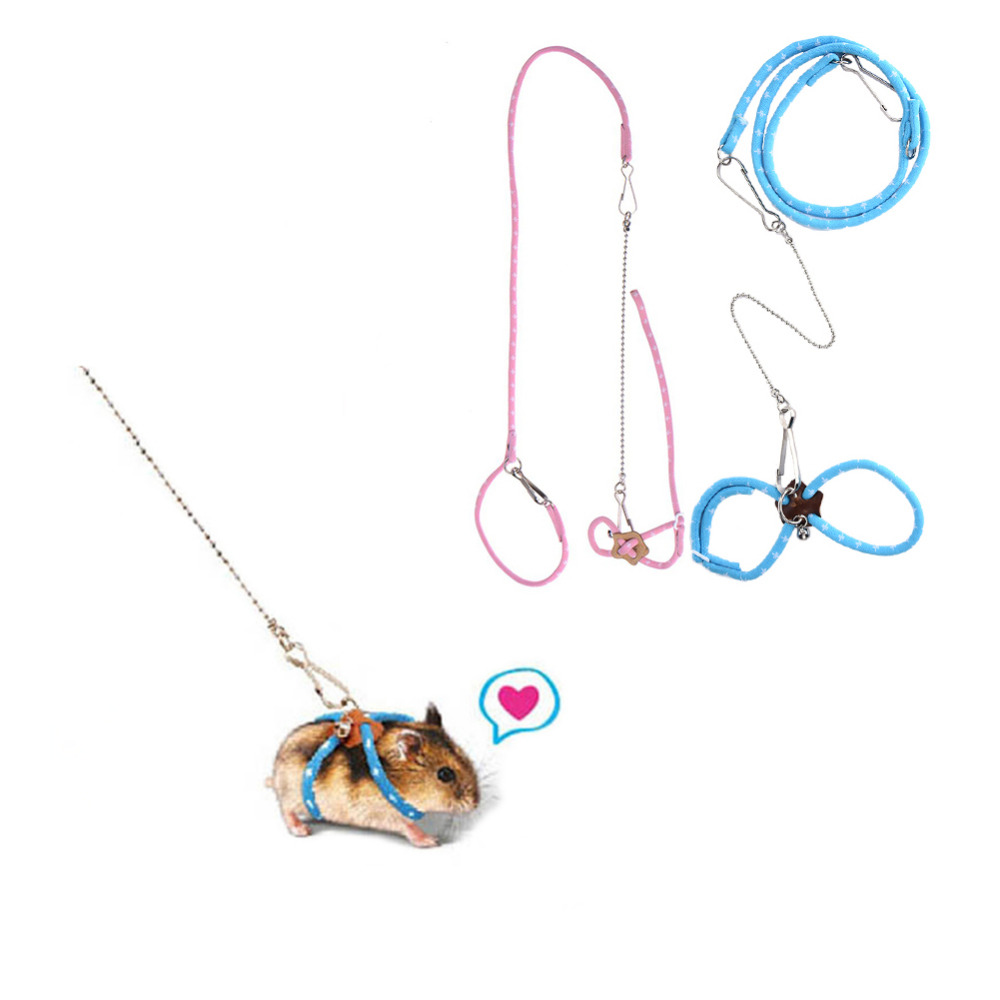 Lovely Adjustable Pet Rat Mouse Hamster Harness Rope Ferret Finder Lead Leash With Bell Pet Gerbil Pet Cage Leashes