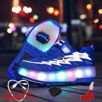 Luminous Sneaker with Wheels Glowing Sneakers with illumination Rechargeable USB roller glowing sneakers with charging switch
