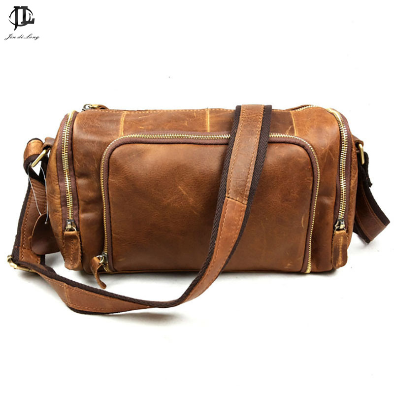 Brand Barrel Retro Oil Wax/Crazy Horse Genuine Leather Cowhide Travel Bags Crossbody Shoulder Bag Messenger Bag Men&Women's women s oil wax genuine cowhide leather backpack lady girl school bag crossbody shoulder travel bag for woman mr1037