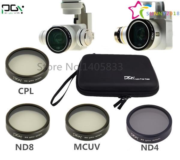 DJI phantom 4 3 Camera lens Filter MCUV ND4 ND8 CPL Filter Case bag Professional Advanced Camera Accessory