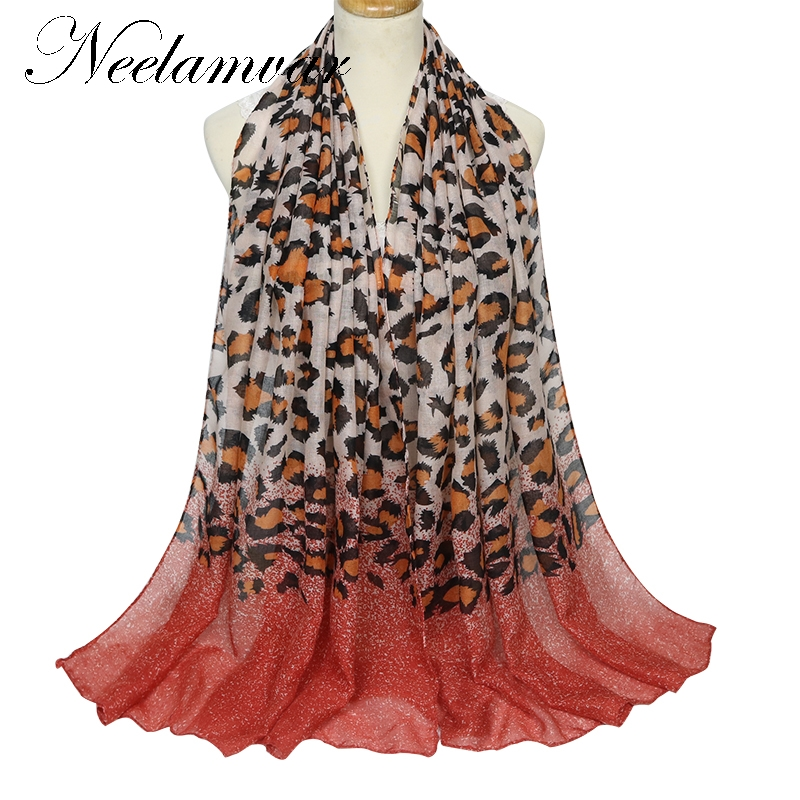 Neelamvar High quality Elegant   scarf   Women Long Print Cotton Polyester   Scarf     Wrap   Ladies Shawl Leopard grain Large   Scarves