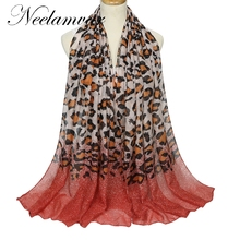 Neelamvar High quality Elegant  scarf Women Long Print Cotton Polyester Scarf Wrap Ladies Shawl Leopard grain Large Scarves