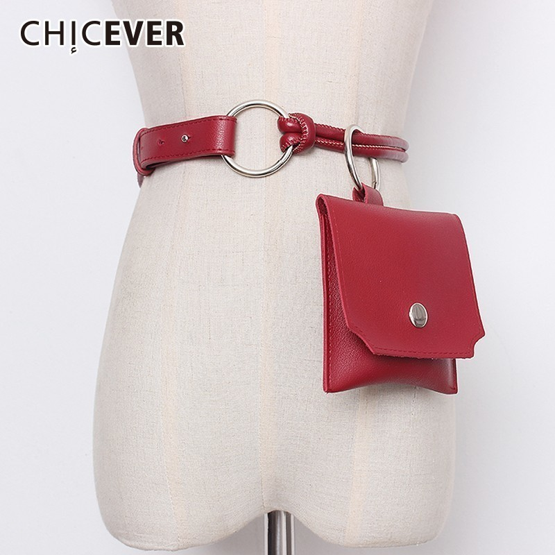 CHICEVER Summer Casual Ring Patchwork Pockets Pu Leather For Women Belt 2019 Fashion New Korean Belts