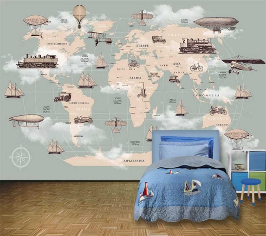 Papel pintado personalizado 3d mural dibujos animados mapa del mundo Fondo pared sala de estar habitación de los niños pintura decorativa 3d papel tapiz