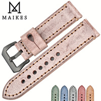MAIKES Good Quality Watch Accessories Watchbands 22 24mm Vintage Bridle Leather Watch Strap Black Buckle For