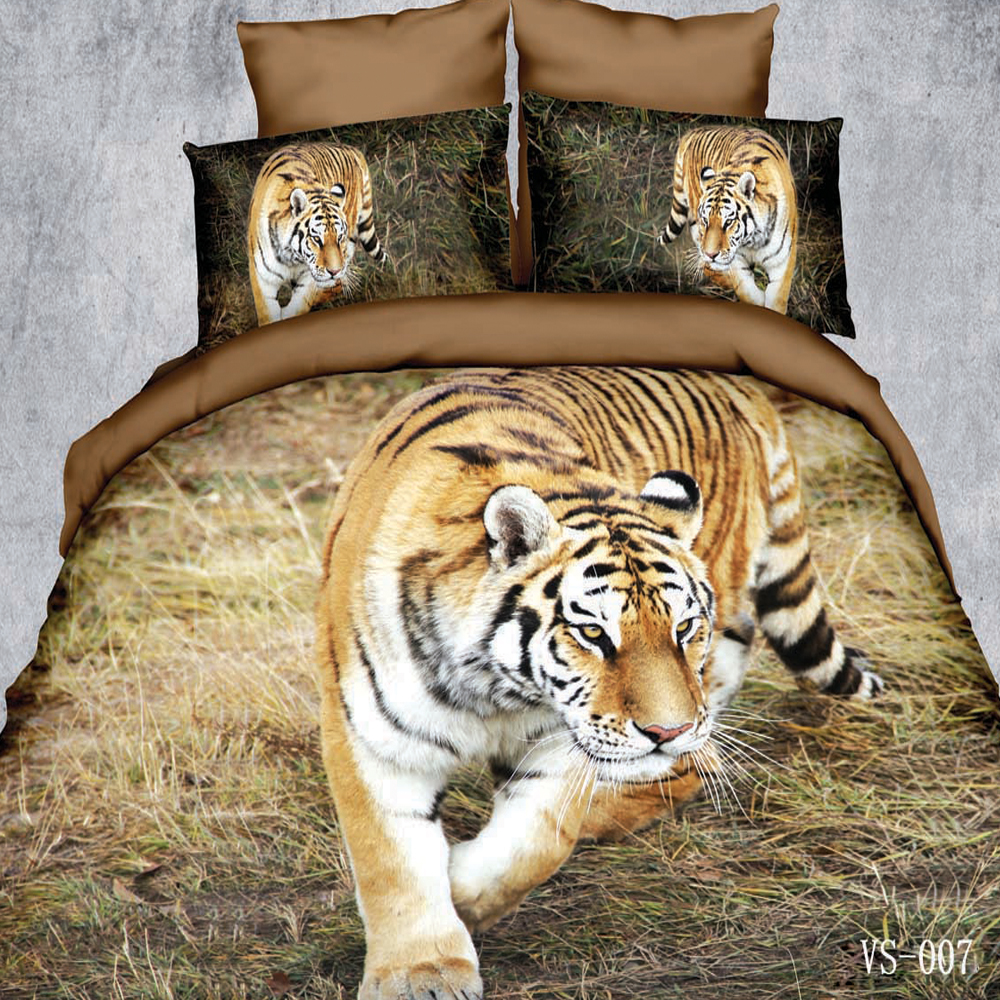 3d Bedding Set,Best Popular 3 piece Tiger Printed Duvet Cover,Pillow Case,Comfortable and Machine Washable(Comforter Not Include