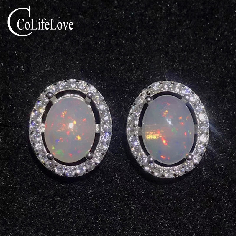 Classic opal silver earrings oval cut natural opa stud earrings sterling silver opal jewelry gift for womanClassic opal silver earrings oval cut natural opa stud earrings sterling silver opal jewelry gift for woman