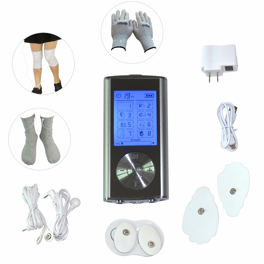 8Modes Body Health Care Digital Therapy Tens Massager Electrical Muscle Relaxation Machine With Conductive Gloves Socks Kneepad 1 set health care herald meridian apparatus tens acupuncture digital therapy machine body massager with tens gloves