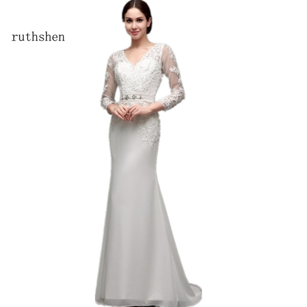 Ruthshen Modest Wedding Dresses Cheap With Long Sleeves Lace Appliques V-Neck Vestidos Baratos Mermaid 2018 Robe Mariage