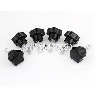 6 Pcs 32mm Star Head Dia M6 x 25mm Male Thread Screw On Type Clamping Knob 2pcs 40mm x 8mm male thread five pointed star head screw knob handle