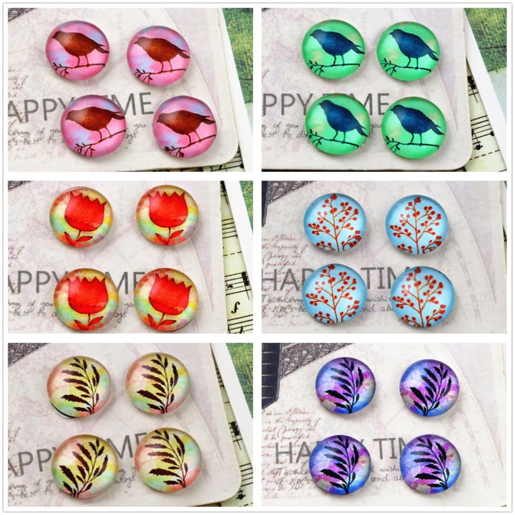 Hot Sale 20pcs 12mm 12 Style Bird Style Handmade Photo Glass Cabochons