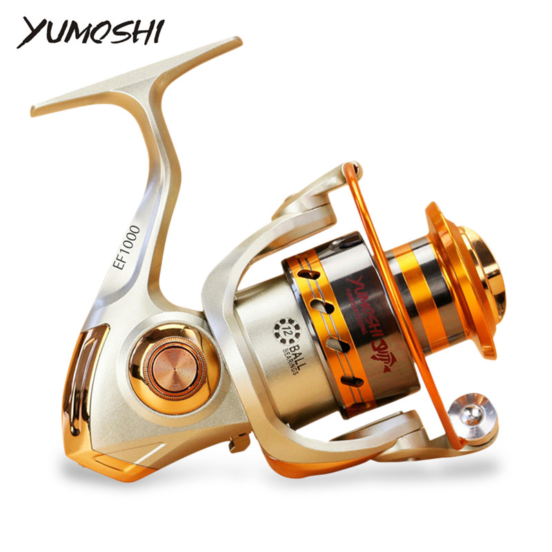цена Yumoshi EF1000-7000 12BB 5.2:1 Metal Spinning Fishing Reel Fly Wheel For Fresh/Salt Water Sea Fishing Spinning Reel Carp Fishing