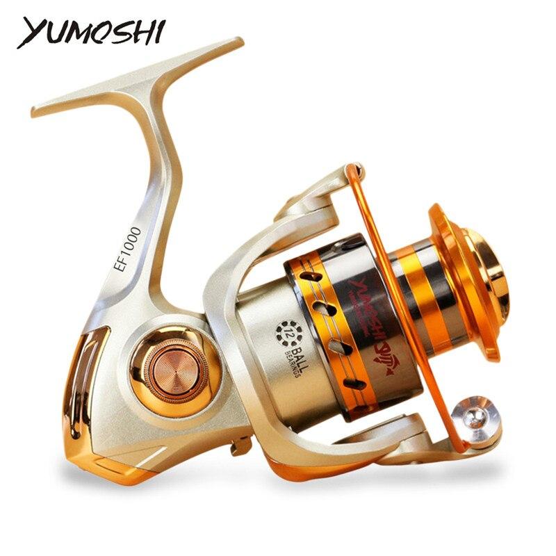 Yumoshi EF1000-7000 12BB 5.2: 1 Metallo Filatura Bobine di Pesca A Mosca Ruota Per Dolce/Salt Water Pesca Strumento Accessori