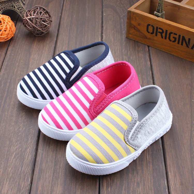 Spring Autumn New Baby Boy Girl Striped Cotton Children First Walker  Infant Shoes Soft Baby Toddler Shoes Casual Kids Sneakers