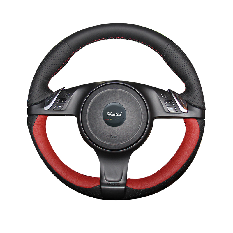 Steering wheel cover for Porsche Cayenne 2013 Microfiber leather Braid on the steering wheel Tampa do volante do carro