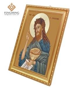 Produto religioso por atacado russo arte bizantina para são joão batista & precursor pessoa clássico grego ícone imagem no quadro