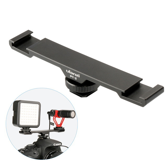 "Ulanzi PT 2 Metal Cold Shoe Plate Universal 2 Hot Shoe Mount Extension Bar Dual Bracket with 1/4"" Thread for Microphone/ Lights"