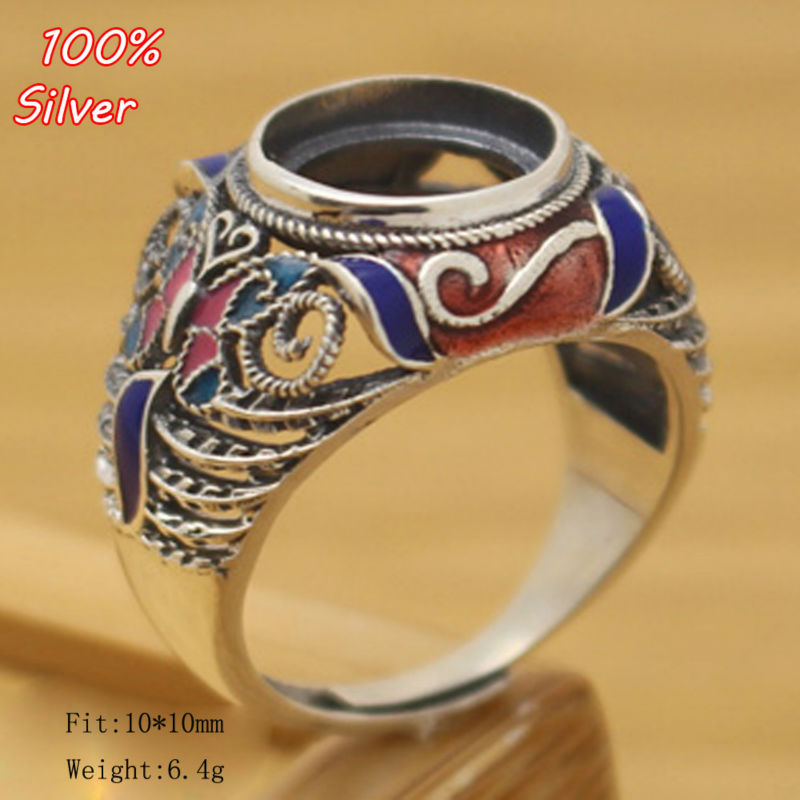 Royal 100% 925 Sterling Silver Ring Blank Jewelry Fit Round 10mm Cloisonne Vintage Ring Base Tray for DIY Handmade  Royal 100% 925 Sterling Silver Ring Blank Jewelry Fit Round 10mm Cloisonne Vintage Ring Base Tray for DIY Handmade