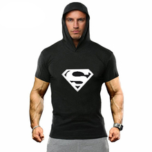 New Men GYMS Hoodie T-Shirt Cotton short Sleeve fitness Tops Bodybuilding Slim Fit Sportwear workout hoody Tees
