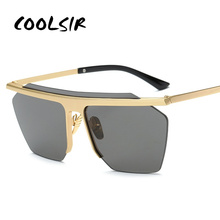 цены на COOLSIR Vintage Mirrored Rimless Sunglasses Polygon Metal Gold Fashion Big One Piece Lens Sunglasses Men Women COOL lentes  в интернет-магазинах