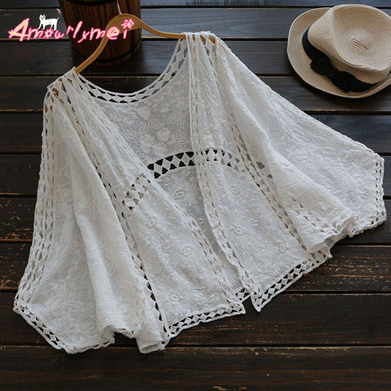 Amourlymei 2017 Mori Girl Summer New Women V neck Casual Loose Bat Sleeve Hollow Out Embroidery