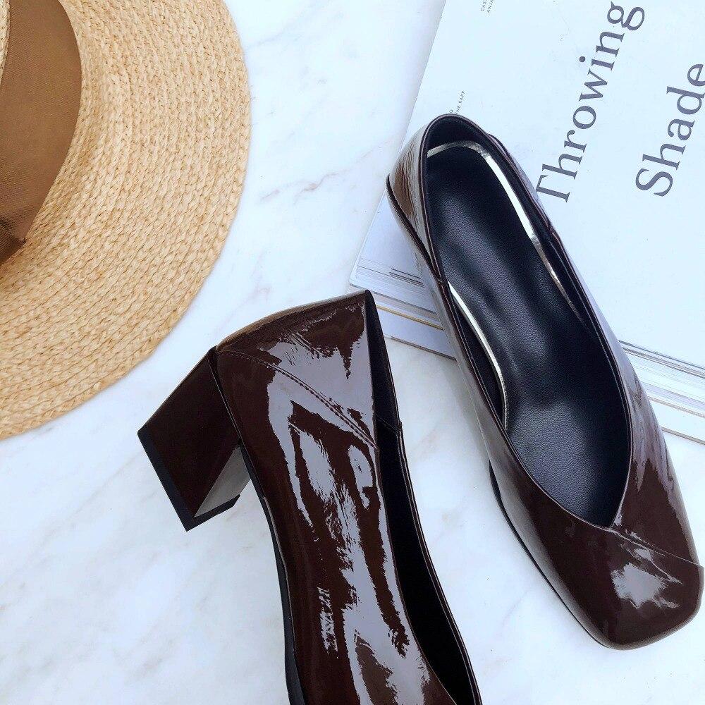 Europeo superestrellas cuero natural diseño vintage punta cuadrada tacones gruesos med slip on office lady clubwear zapatos hermosos L67-in Zapatos de tacón de mujer from zapatos    3