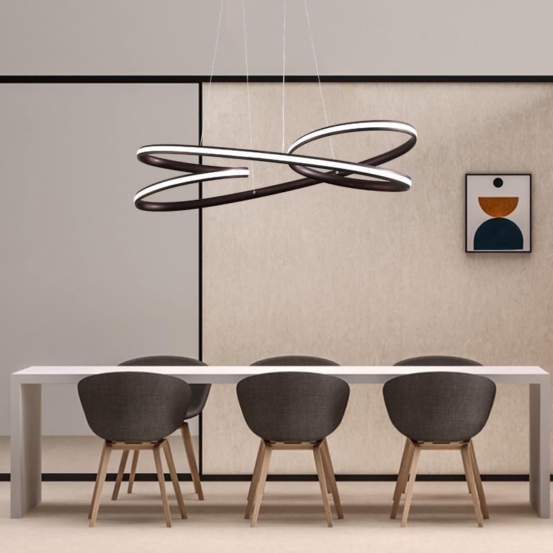 modern led pendant lights for dining living Kitchen room Black/Brown Aluminum Pendant lamp lamparas modernas Fixtures 2018 new