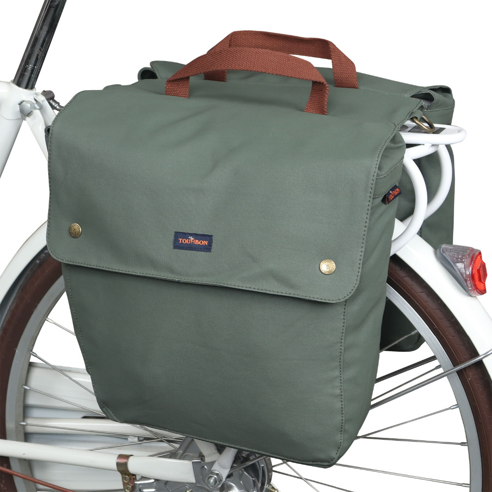 Tourbon Retro Waterproof Canvas Bicycle Back Seat Pannier Cycling Rear Rack Trunk Bike Luggage Two Storage Bags 23L Durable roswheel 50l bicycle waterproof bag retro canvas bike carrier bag cycling double side rear rack tail seat trunk pannier two bags