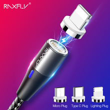RAXFLY 3A Magnetic Charger Cable For iPhone Xiaomi Mi A2 Fast Charging Micro USB Type C Lighting Cable Magnet Cable 1m Cabo Wire