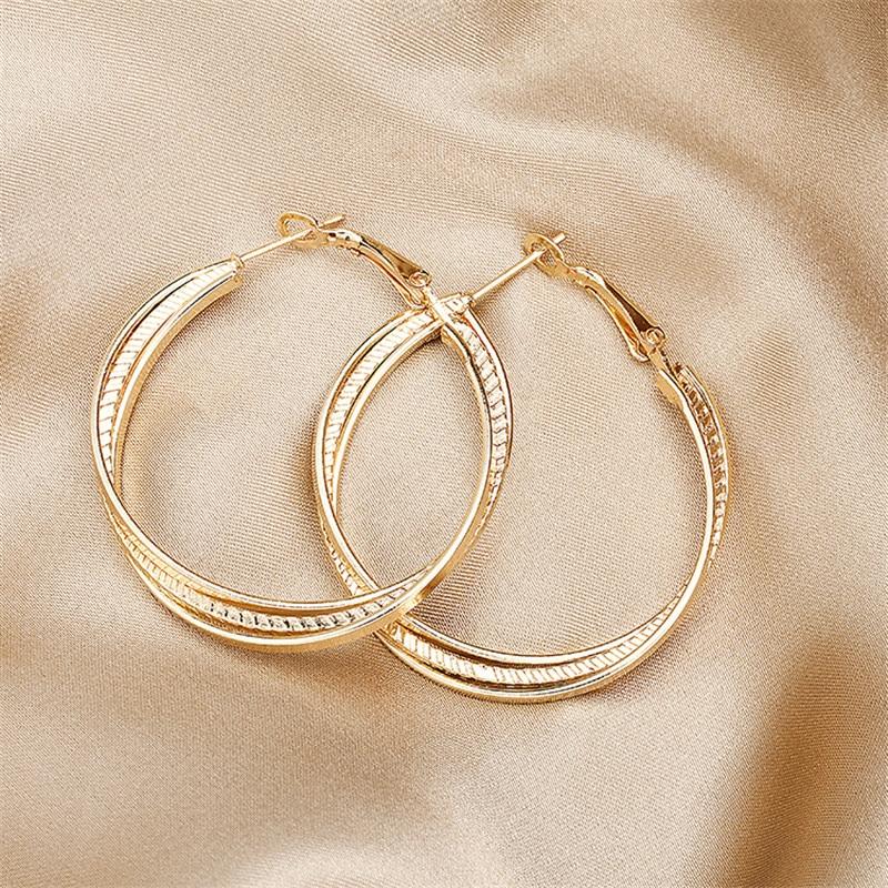 Simple Gold color Big Hoop Earring  3