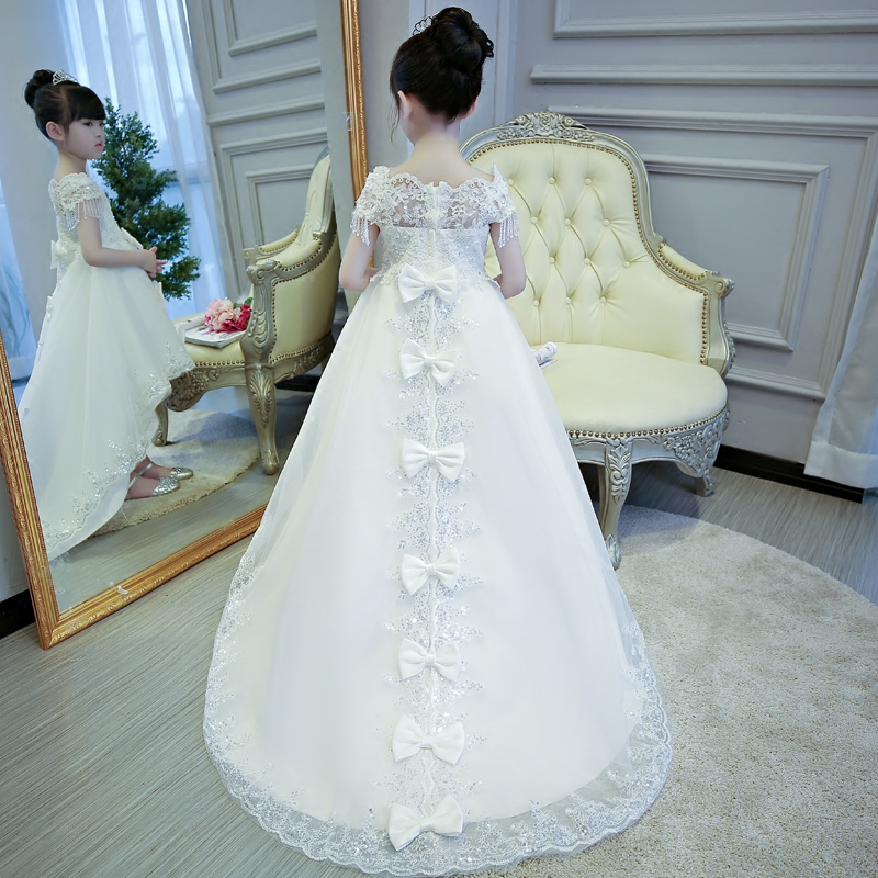 Flower Girl Dresses with Long Tailing Off the Shoulder First Communion Dresses Bowknots Kids Girls Pageant for Party Wedding B34 trendy see through off the shoulder long sleeve lace blouse for women