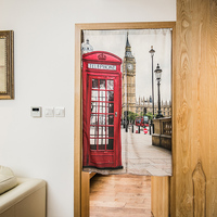 Nice Curtains European style living room partition door curtain British red telephone box children room kitchen curtain door cur