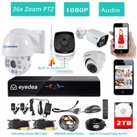 Eyedea 8 CH HDMI Surveillance DVR Recorder 1080P 5500TVL Audio 36x Zoom PTZ Control Night Vision