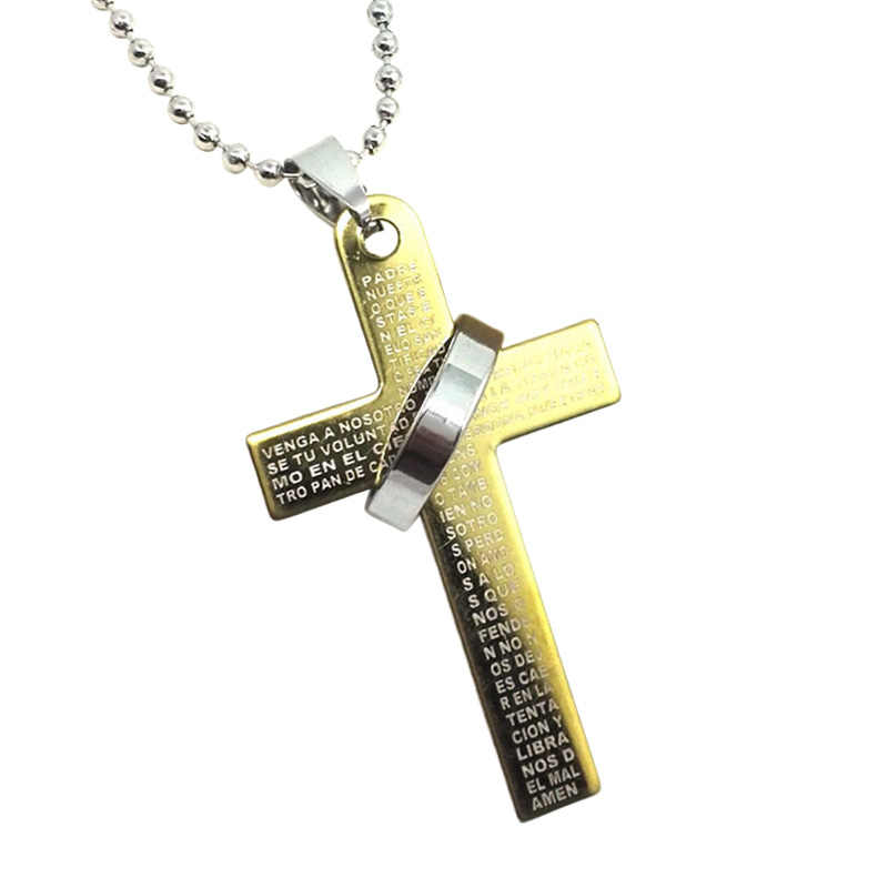 Men Boys Stainless Steel Bible Cross Pendant Chain Necklace  M8694