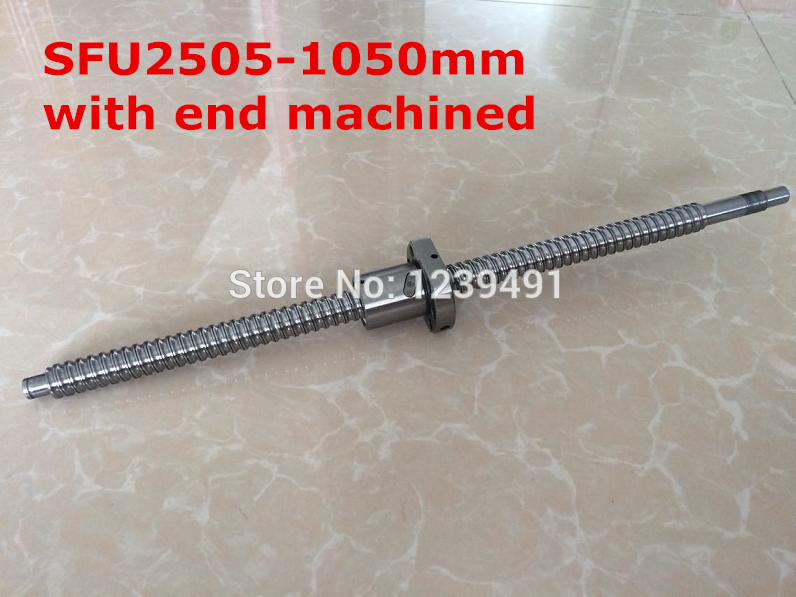 1pc SFU2505- 1050mm  ball screw with nut according to  BK20/BF20 end machined CNC parts1pc SFU2505- 1050mm  ball screw with nut according to  BK20/BF20 end machined CNC parts