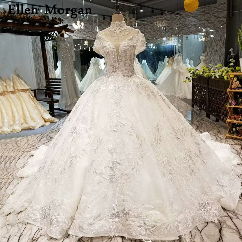 Ivory Lace Bodice Ball Gown Wedding Dress With Sheer Long: Puffy Lace Ball Gowns Wedding Dresses 2019 Merry Custom