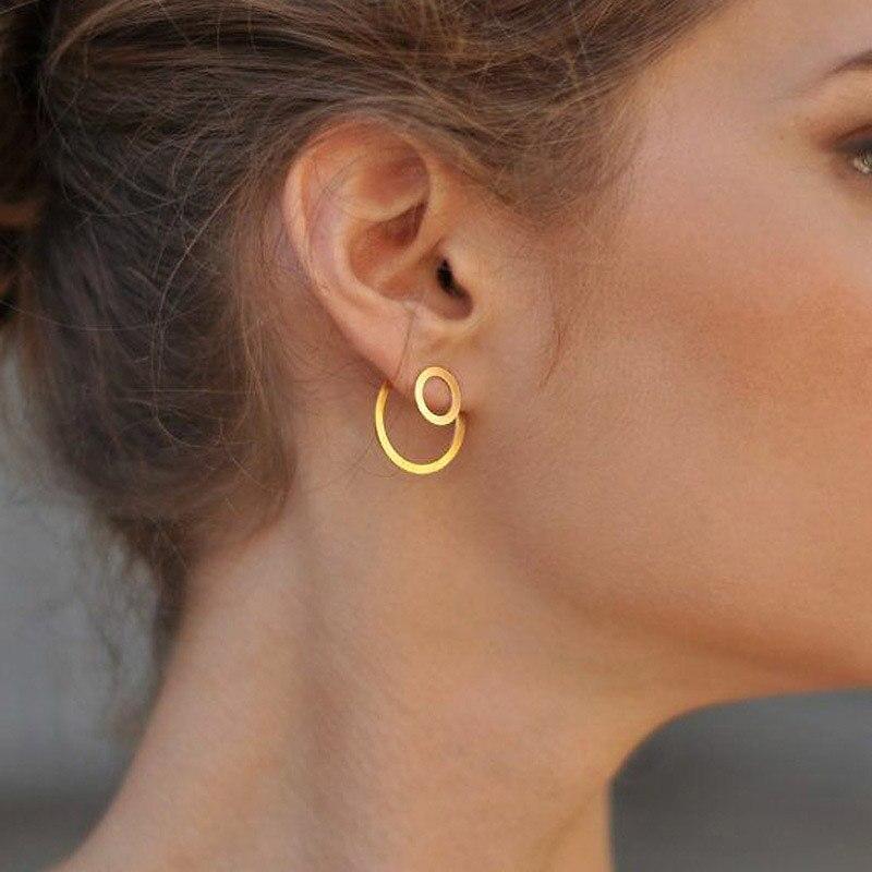 USTAR Simple Double Round Drop Earrings for women Geometric hanging Earrings female 2018 fashion jewelry Oorbellen accessories in Drop Earrings from Jewelry Accessories