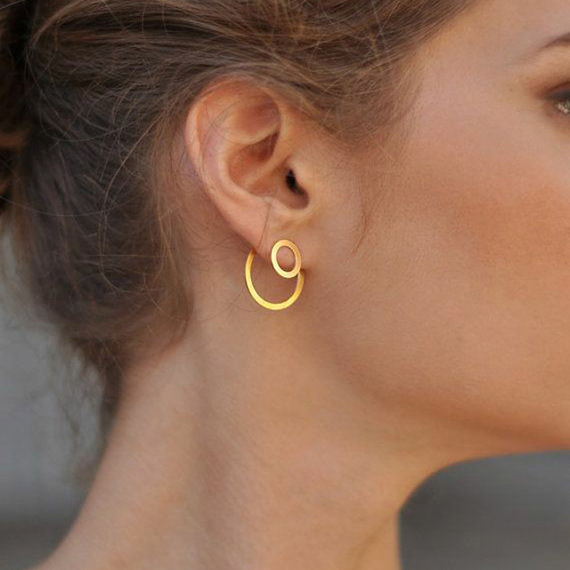 Double Round Drop Geometric Earrings