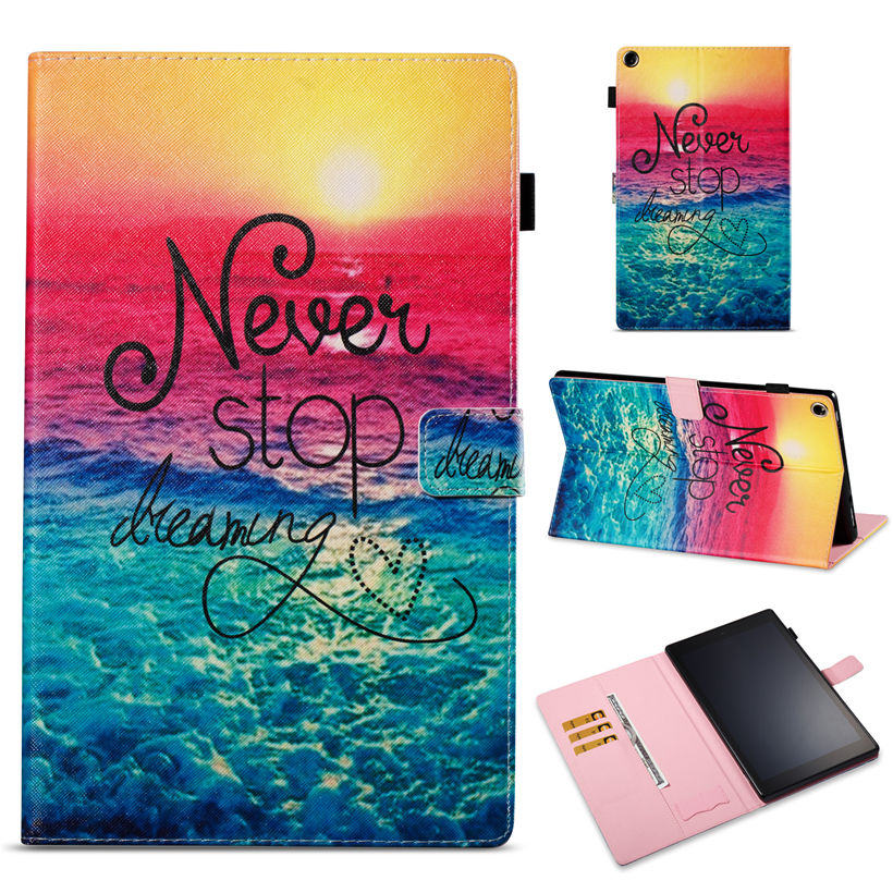 Fashion painted Case For Amazon Kindle All-New Fire HD 10 Tablet with Alexa 10.1 2017 Smart Cover Funda PU Leather Stand Shell for amazon kindle fire hd10 2017 pu leather case cover 10 1 protective stand for amazon new fire hd 10 2015 smart tablet skin