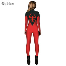 Qybian 2017 Women Skinny Jumpsuits Long Sleeve back  Zipper Long Pants Sexy Rompers Halloween Spider-Man 3D printed red Jumpsuit