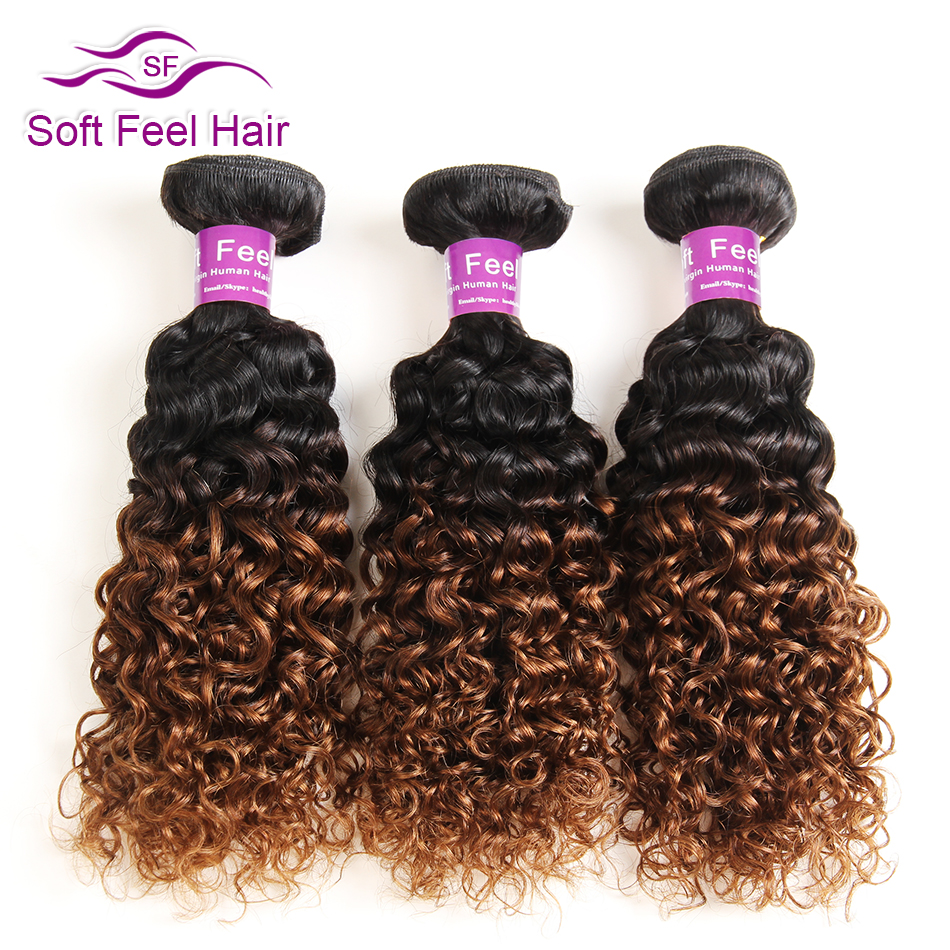 Soft Feel Hair Ombre Brazilian Hair 1 Bundle 1B 30 Kinky Curly Weave Human Hair Extensions