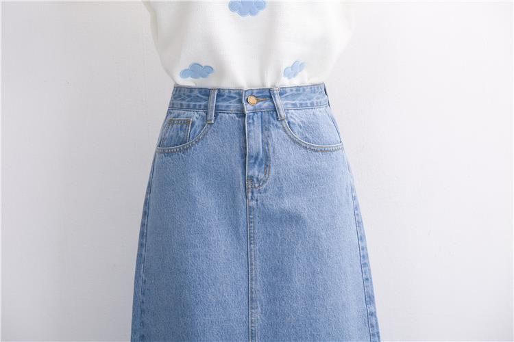Slits a word denim skirt female 2016 new winter high waist a word length denim skirt 25